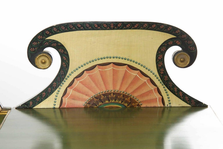 English George IV Green Painted Antique Pedestal Sideboard Console, circa 1825 For Sale 1