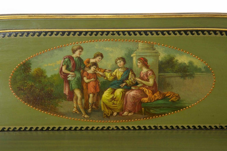 English George IV Green Painted Antique Pedestal Sideboard Console, circa 1825 For Sale 2