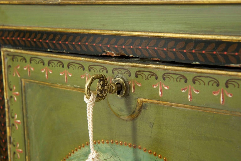 English George IV Green Painted Antique Pedestal Sideboard Console, circa 1825 For Sale 3
