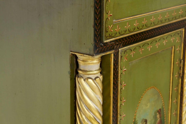 English George IV Green Painted Antique Pedestal Sideboard Console, circa 1825 For Sale 6
