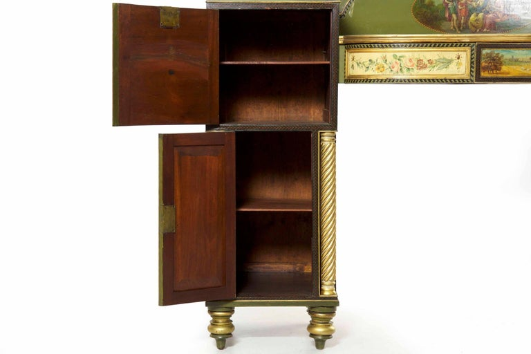 English George IV Green Painted Antique Pedestal Sideboard Console, circa 1825 For Sale 8