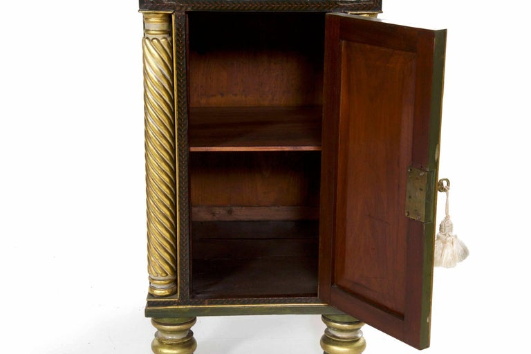 English George IV Green Painted Antique Pedestal Sideboard Console, circa 1825 For Sale 9