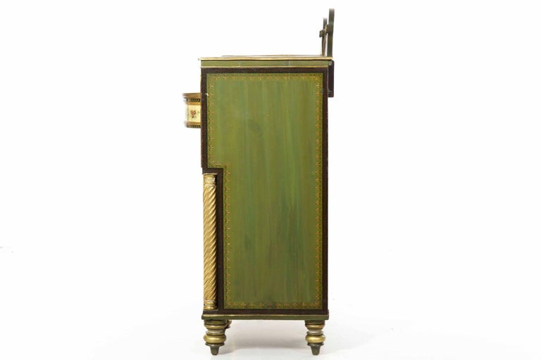 English George IV Green Painted Antique Pedestal Sideboard Console, circa 1825 For Sale 10