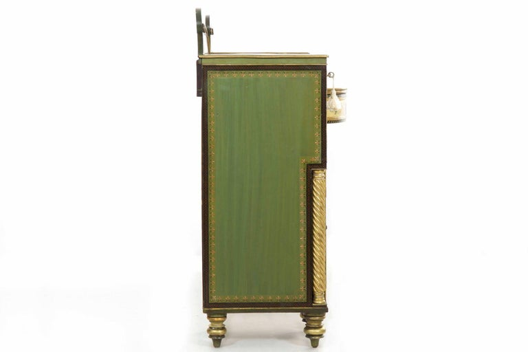 English George IV Green Painted Antique Pedestal Sideboard Console, circa 1825 For Sale 12