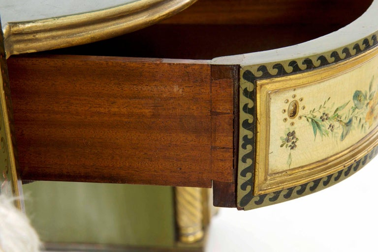 English George IV Green Painted Antique Pedestal Sideboard Console, circa 1825 For Sale 13