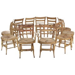 """American Sheraton Set of 11 """"Fancy"""" Painted Dining Chairs, New York"""