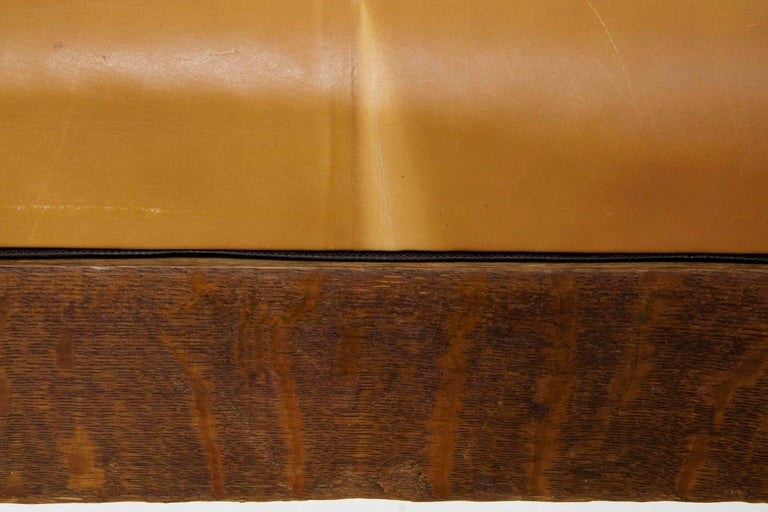 20th Century Arts & Crafts Mission Leather & Oak Antique Hall Settle Sofa Settee For Sale 4