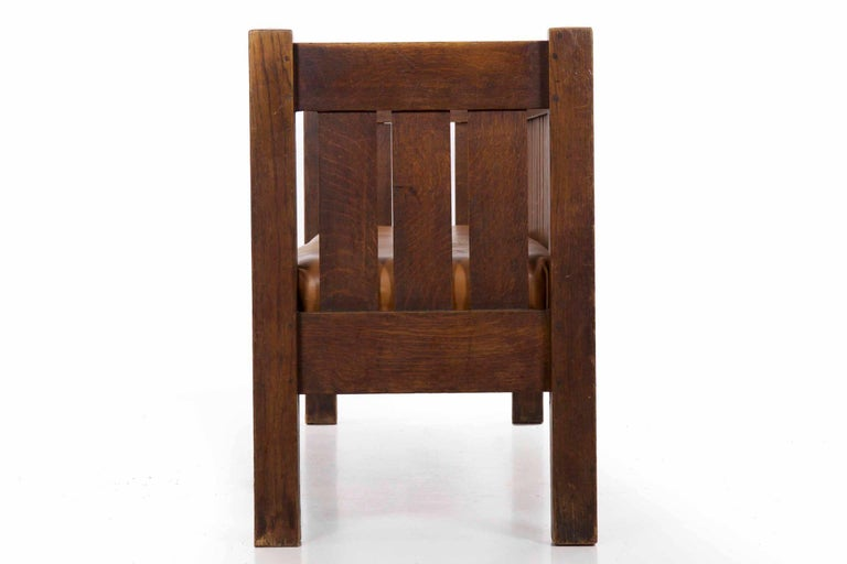 20th Century Arts & Crafts Mission Leather & Oak Antique Hall Settle Sofa Settee For Sale 5