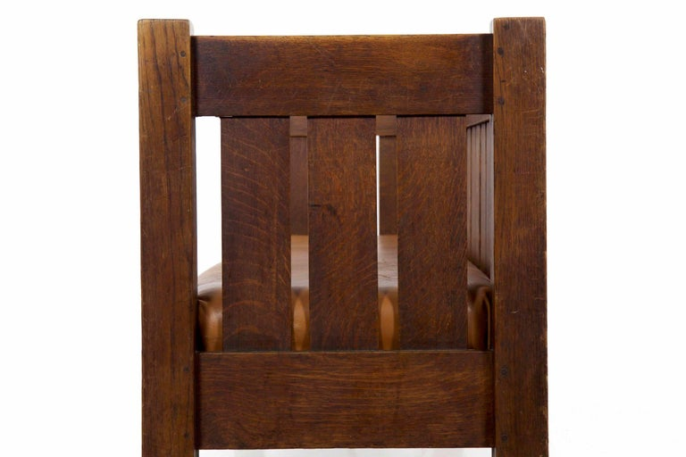 20th Century Arts & Crafts Mission Leather & Oak Antique Hall Settle Sofa Settee For Sale 6