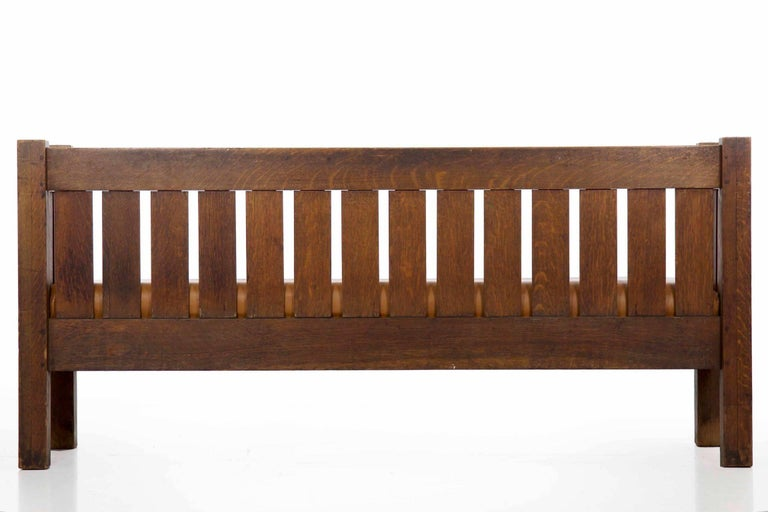 20th Century Arts & Crafts Mission Leather & Oak Antique Hall Settle Sofa Settee For Sale 7