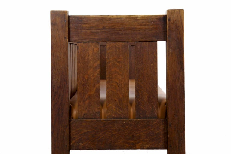20th Century Arts & Crafts Mission Leather & Oak Antique Hall Settle Sofa Settee For Sale 9
