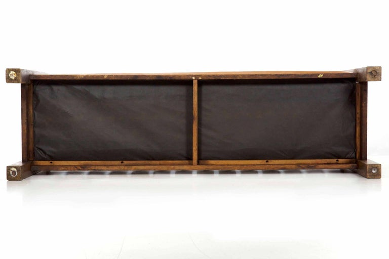 20th Century Arts & Crafts Mission Leather & Oak Antique Hall Settle Sofa Settee For Sale 15