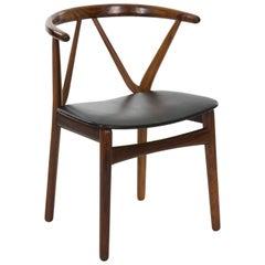 Midcentury Danish Modern Hoop Back Armchair by Henning Kjaernulf, circa 1950s