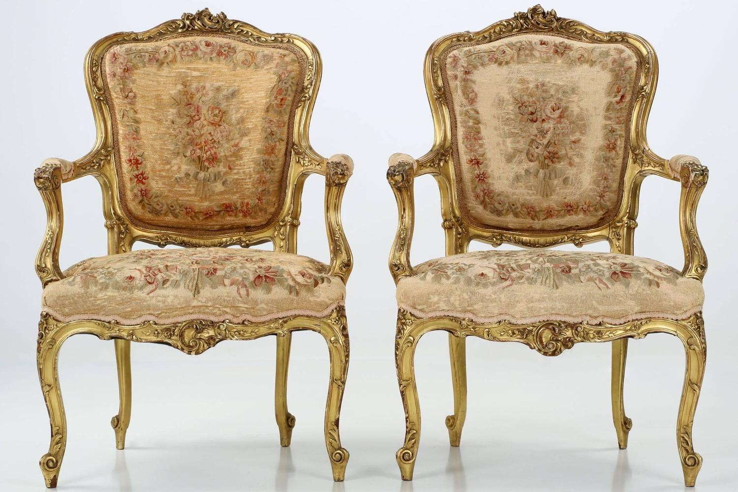 Pair Of French Louis Xv Style Antique Fauteuil Arm Chairs 19th Century C 1870 For Sale At 1stdibs
