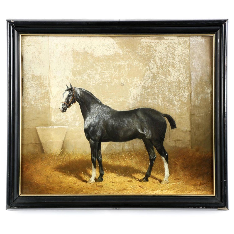 Jonny Audy Antique Equestrian Horse Painting Circa 1875