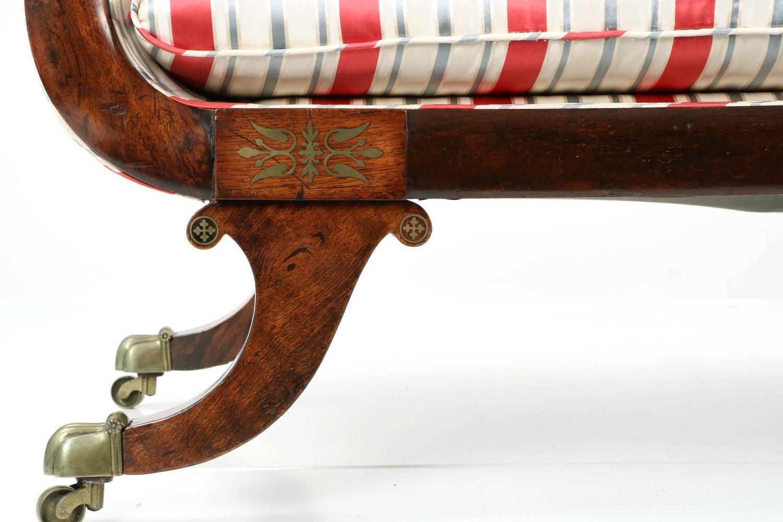 english regency brass inlaid antique recamier sofa chaise. Black Bedroom Furniture Sets. Home Design Ideas
