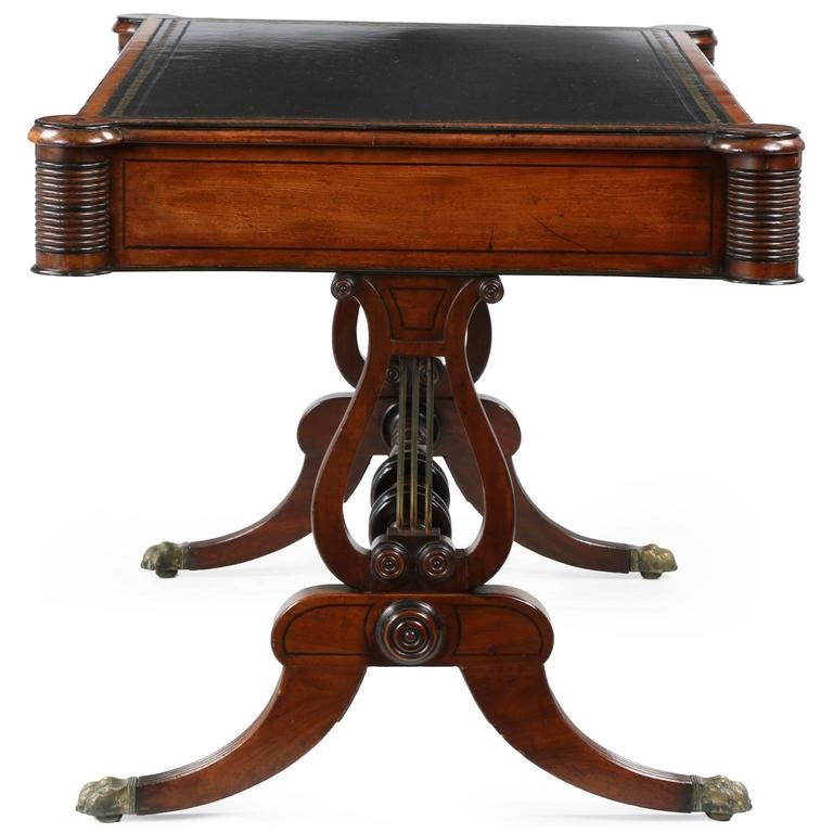 English William IV Mahogany Antique Writing Desk Table