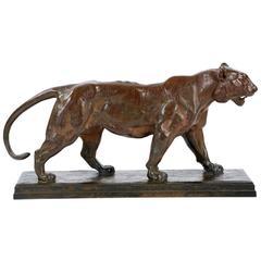 "Bronze Sculpture ""Tigre Qui Marche"" After Antoine-Louis Barye, F. Barbedienne"