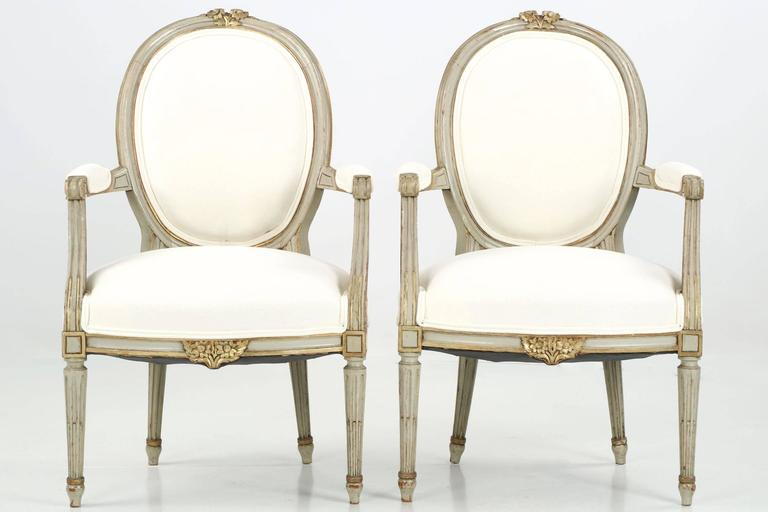 Pair of French Louis XVI Style Painted Antique Fauteuil Armchairs 2 - Pair Of French Louis XVI Style Painted Antique Fauteuil Armchairs