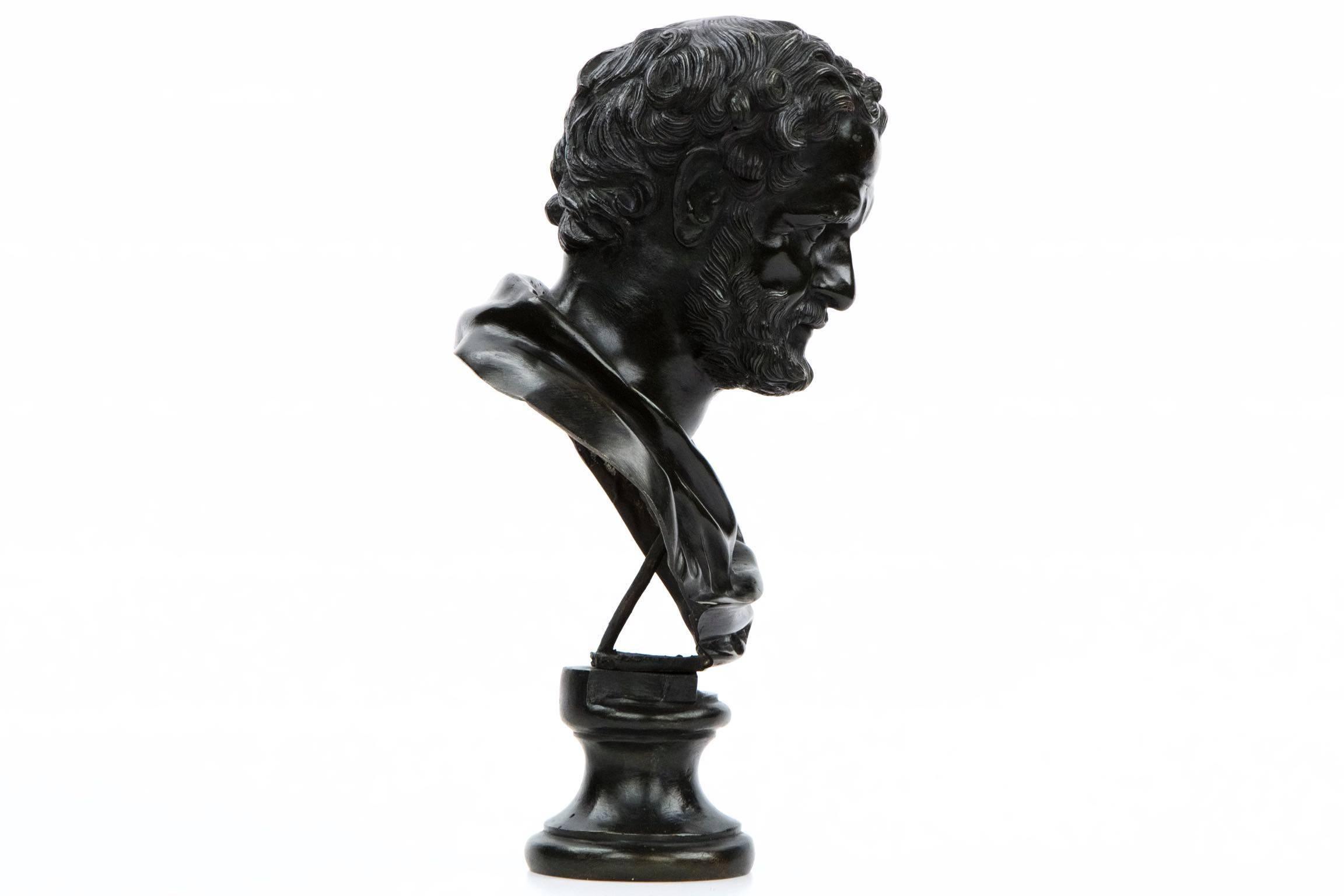 1b430c8722154 Italian Antique Bronze Sculpture Bust of a Roman Statesman