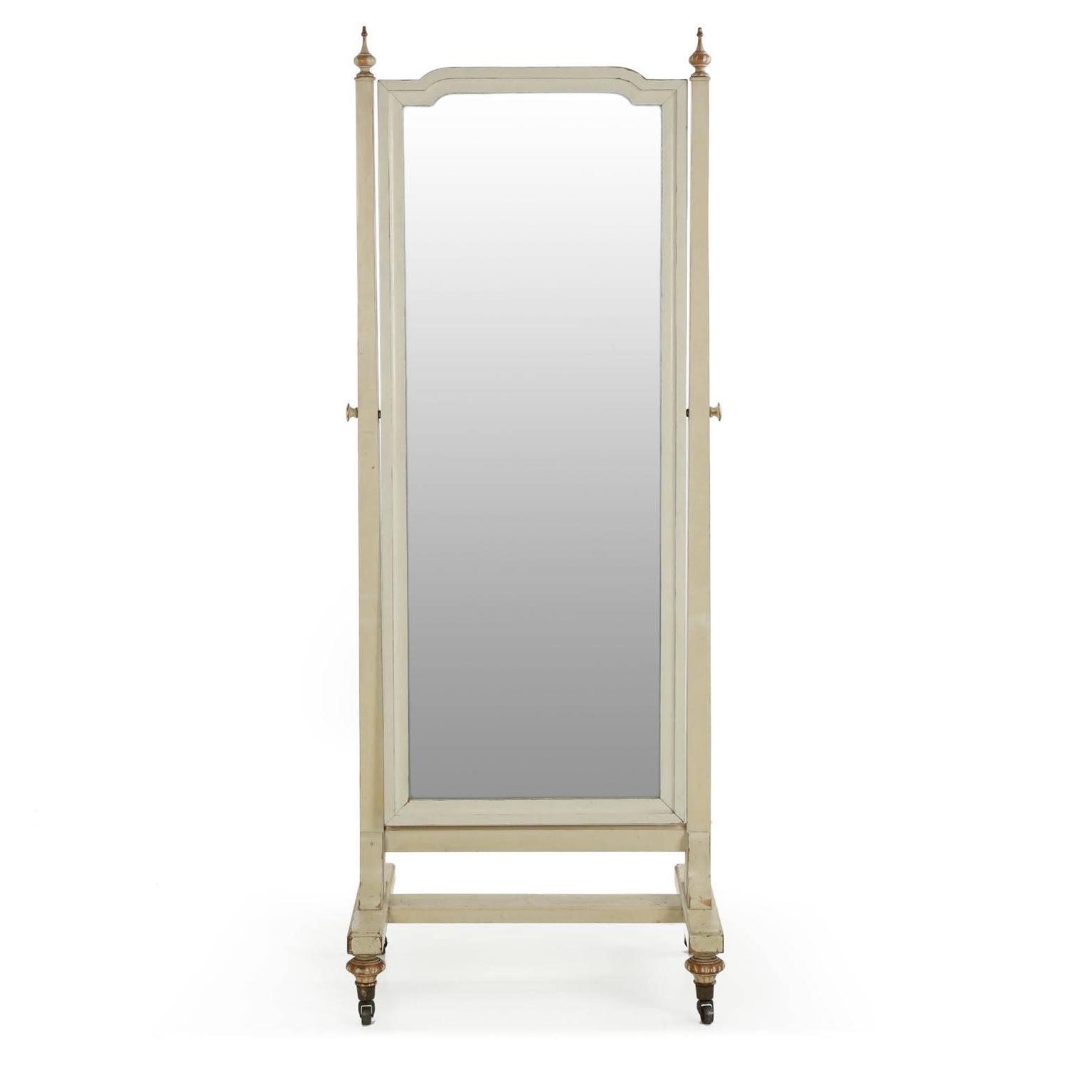 Neoclassical style distressed white painted antique cheval for Cheval mirror