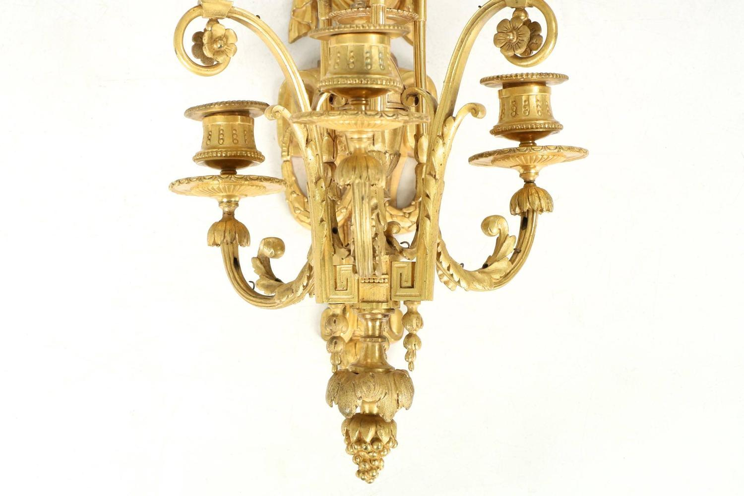 Wall Sconces Antique Style : Pair of Louis XVI Style Bronze Antique Candelabra Wall Sconces, 19th Century For Sale at 1stdibs