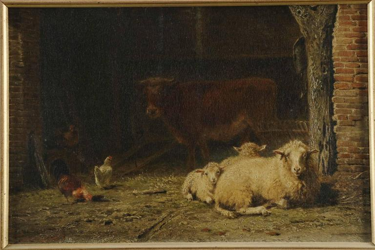Frans Lebret Antique Farmyard Painting Of Sheep And Cow
