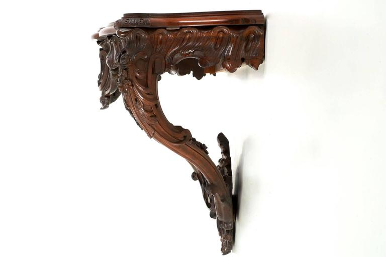 Carved Rosewood Rococo Revival Wall Mounted Console Table, Circa 1870 1890 2