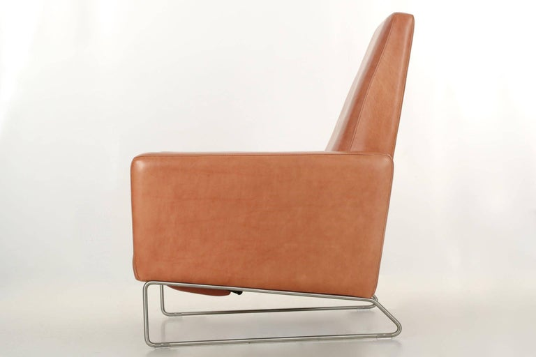 Ted Boerner For Dwr Caramel Brown Reclining Leather Lounge Chair On Steel Legs In Excellent
