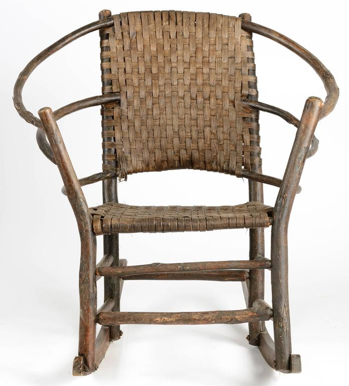 American Adirondack Hickory Rocker With Woven Back And