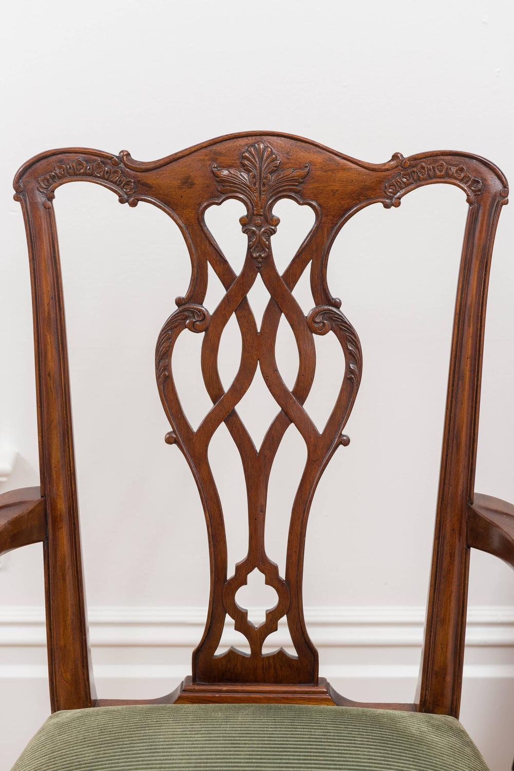 reproduction 18th century chippendale mahogany chairs set of eight at