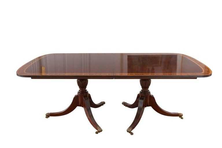 Sheraton Style Double Pedestal Mahogany Dining Table At