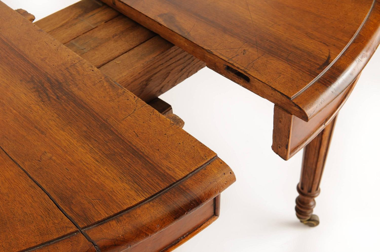 19th century french round walnut dining table with extensions for sale
