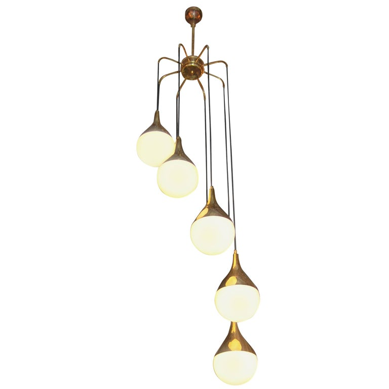Large Pair of Stilnovo Style Cascading Chandeliers with Brass and Glass Shades For Sale
