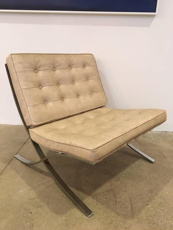A Vintage Pair Of U0026quot;Barcelonau0026quot; Chairs With Heavy Steel Frames And  Original Cream