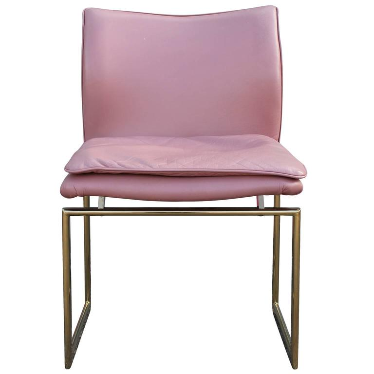 Modern Set Of Six Brass And Pink Leather Dining Chairs At