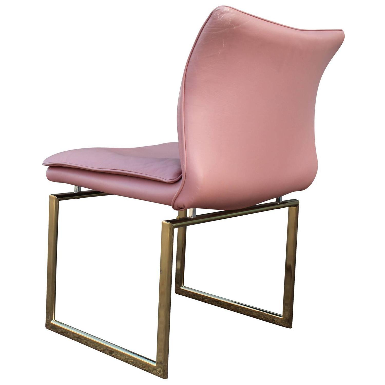 Fabulous Set Of Six Brass And Pink Leather Dining Chairs
