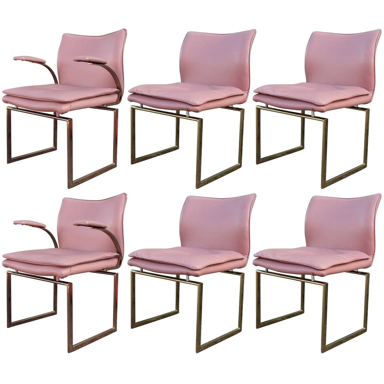 Fabulous Set Of Six Brass And Pink Leather Dining Chairs For Sale At 1stdibs