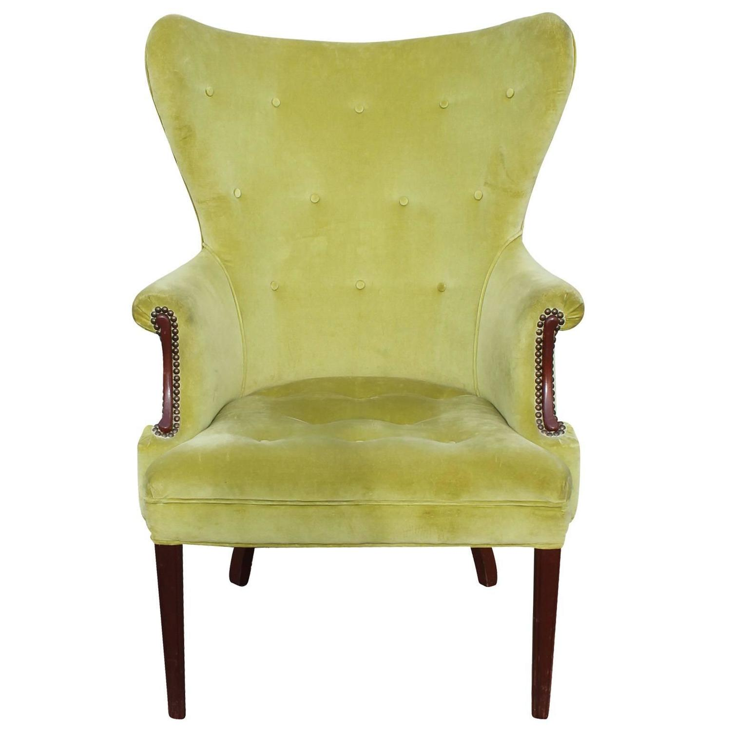 Pair Of Mid Century Tall Wingback Lounge Chairs At 1stdibs