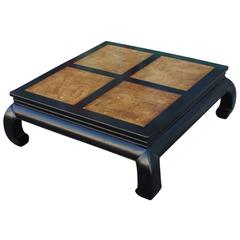 Two-Tone Burl Wood Ming Style Square Coffee Table by Henredon