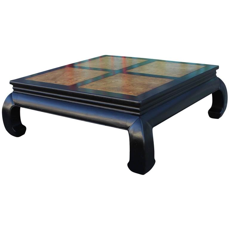 American Two Tone Burl Wood Ming Style Square Coffee Table By Henredon For  Sale