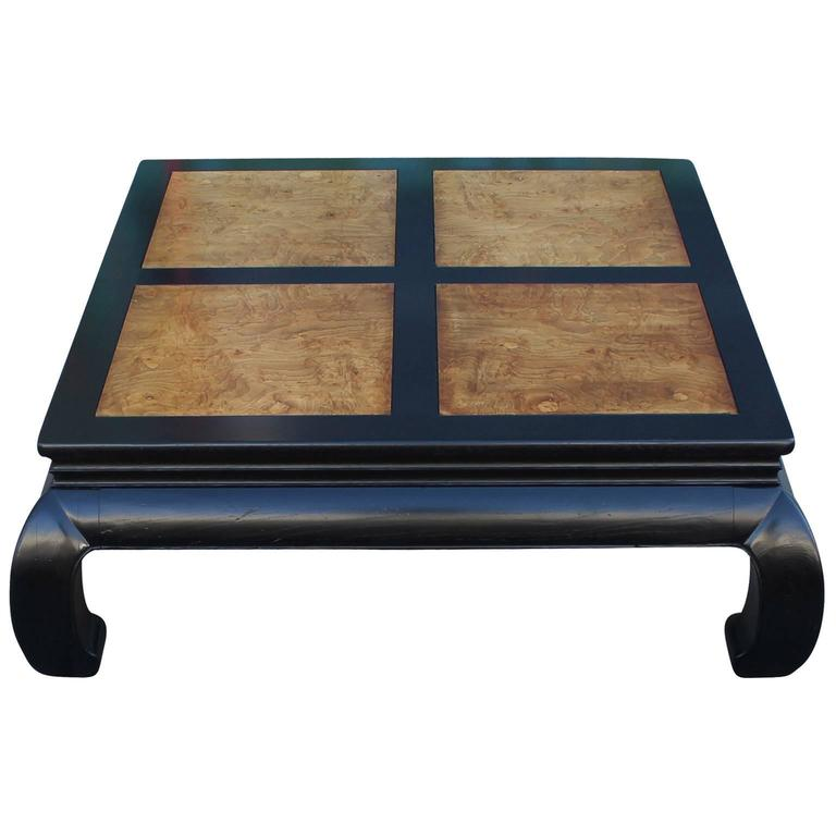 Excellent Ming Style Square Coffee Table By Henredon Is Freshly Finished In A