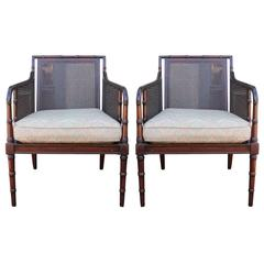 Bamboo and Cane Regency Style Lounge Chairs