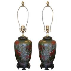Excellent Pair of Marbro Ceramic Green Lamps