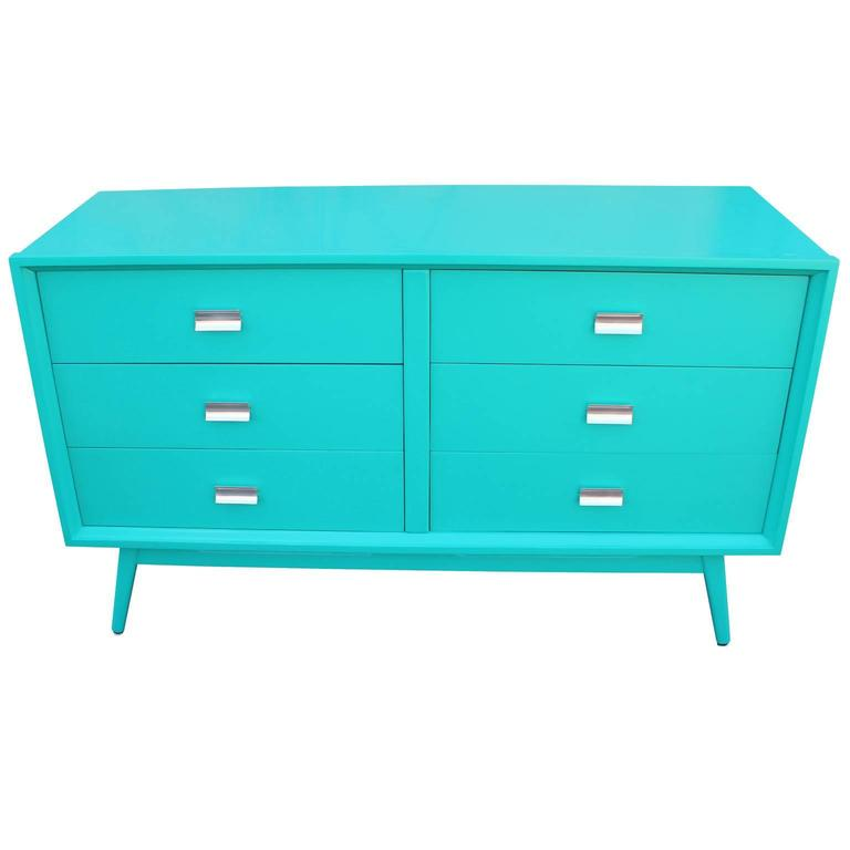 Mid-Century Modern Modern Turquoise Lacquered Six Drawer Dresser with Chrome Hardware For Sale