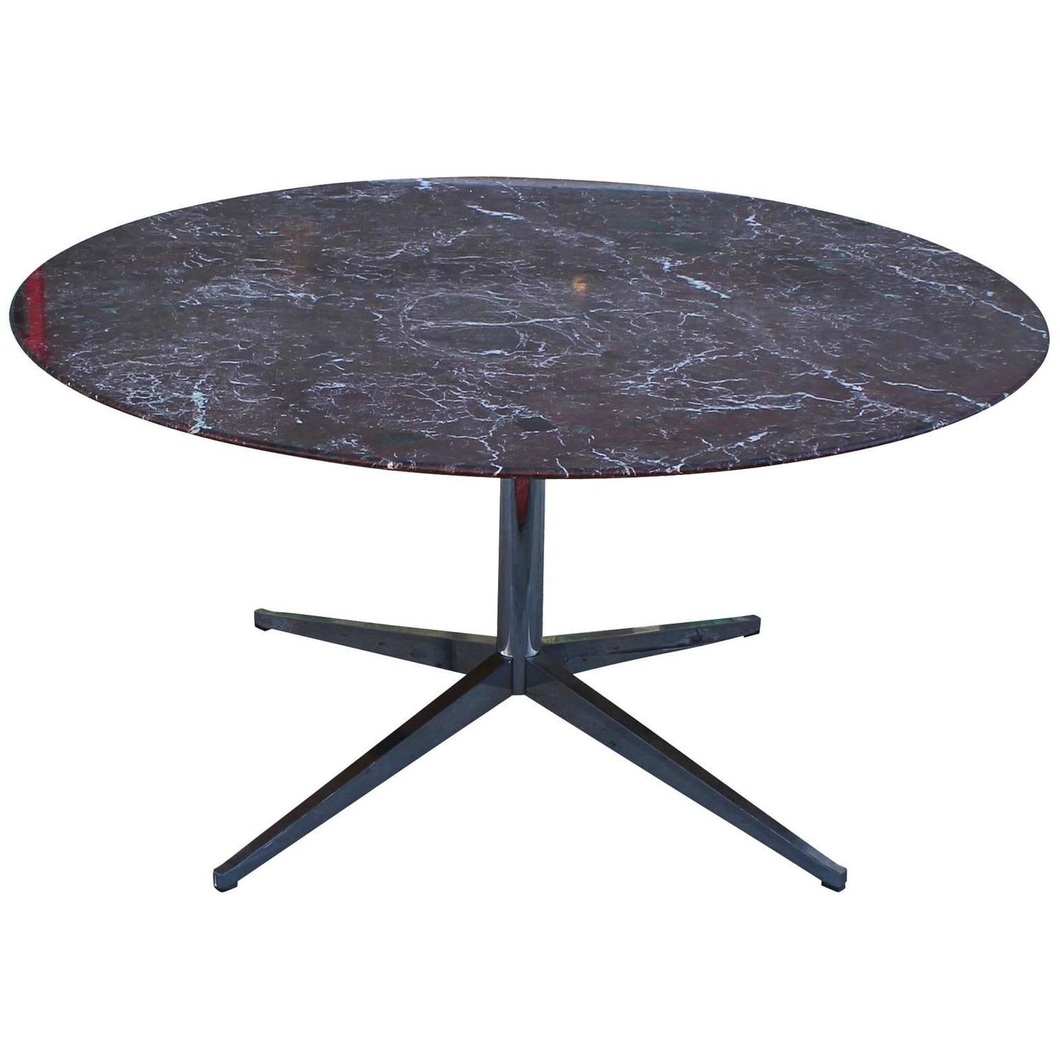 Florence Knoll Marble Topped Round Dining Table At 1stdibs