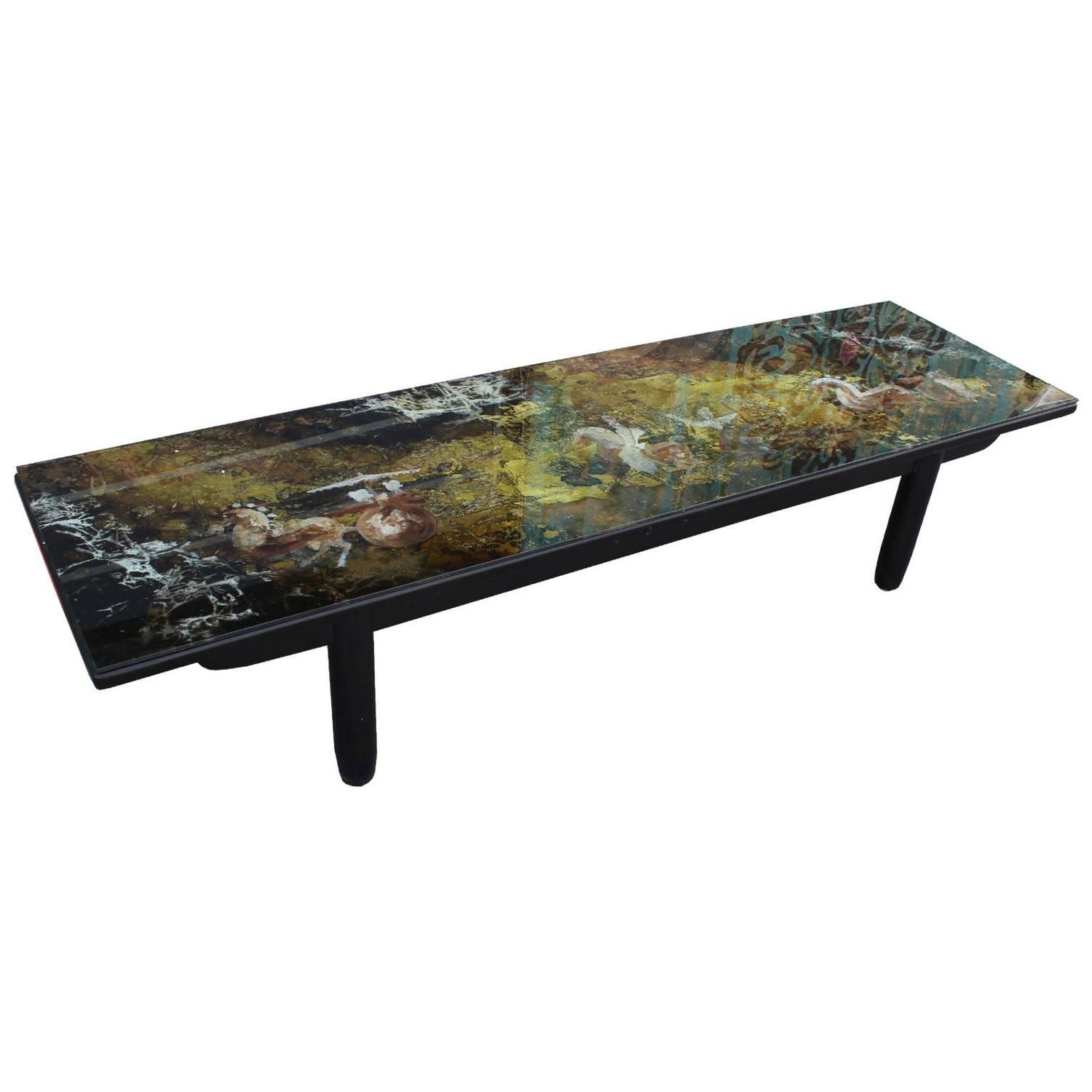 Stunning Reverse Painted Glass And Gold Leaf Coffee Table At 1stdibs