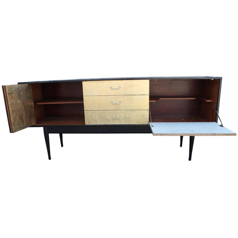 Ultra luxe modern gold leaf and ebonized sideboard for for Sideboard gold
