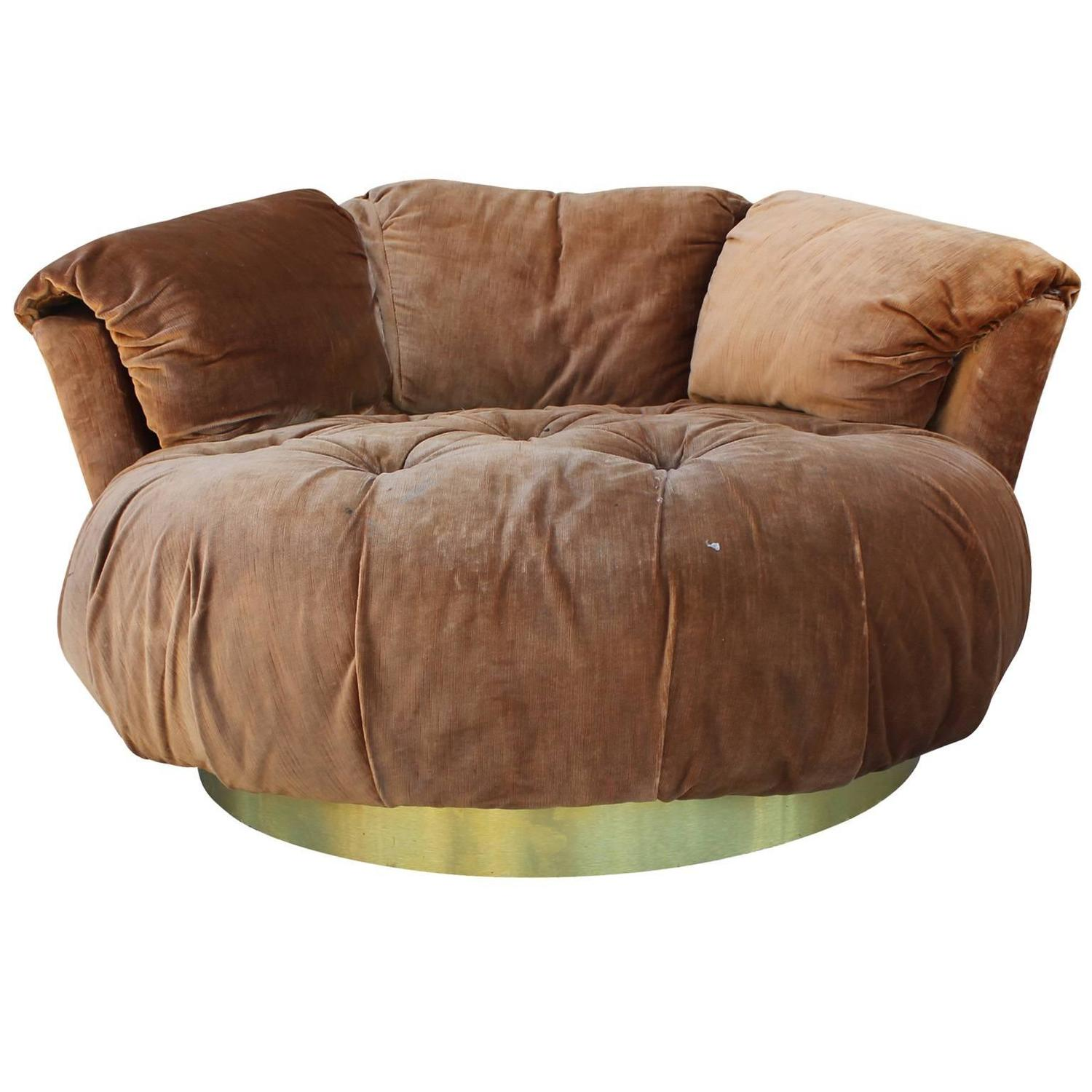 Plush Tufted Circle Lounge Chair with Brass Base at 1stdibs