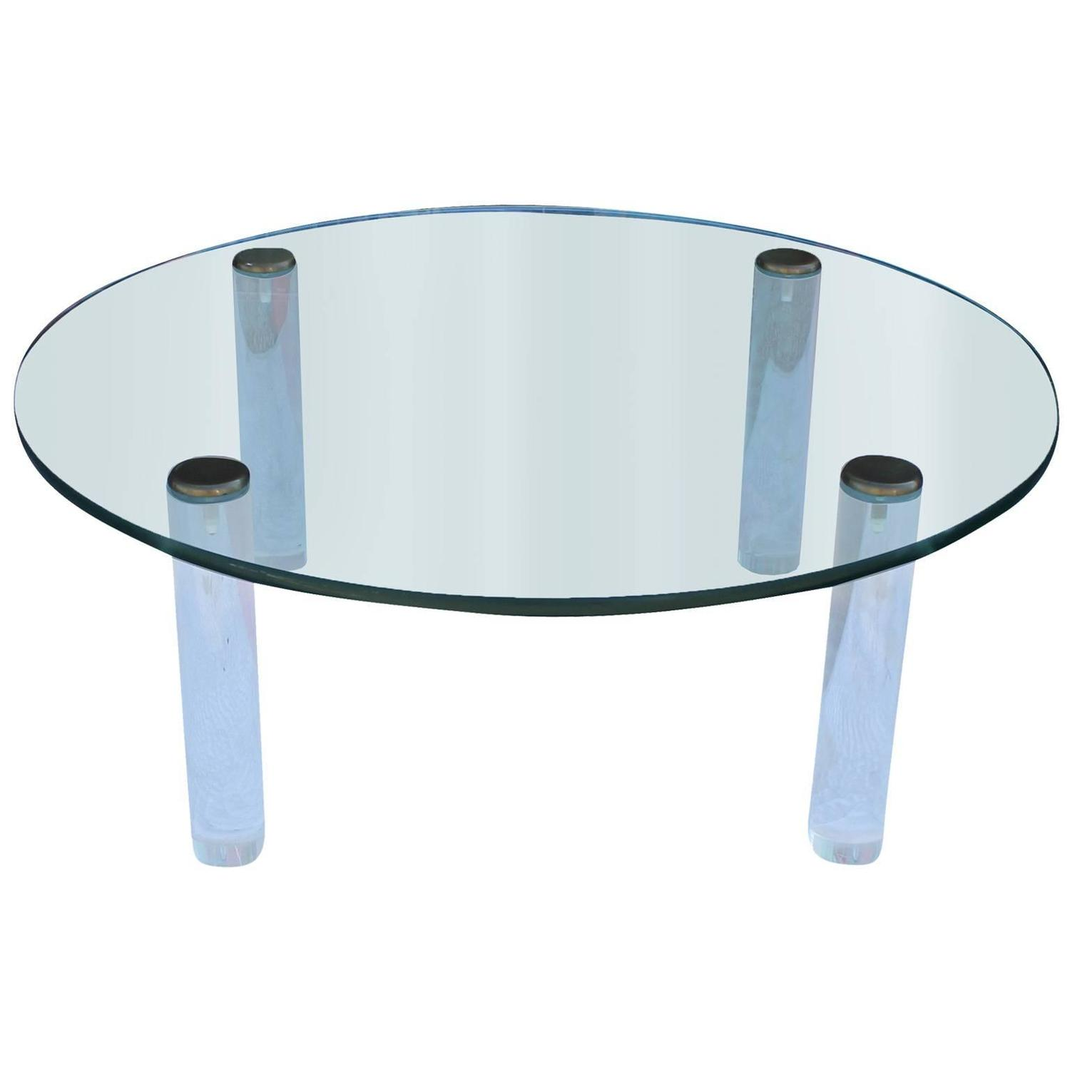 Pace Collection Round Lucite Brass And Glass Coffee Table At 1stdibs